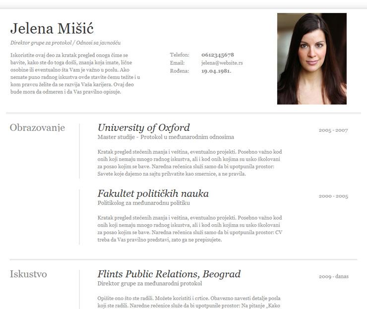 curriculum vitae primer srpski